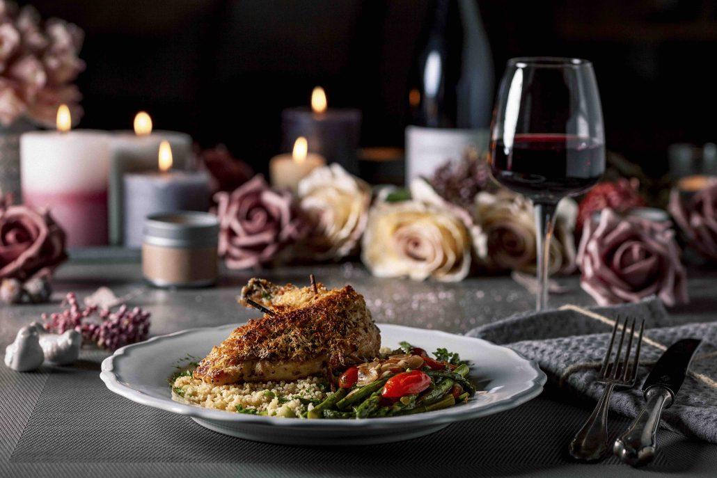 Gefüllte Hähnchenbrust Mit Pecorinokruste Couscous Und Grünem
