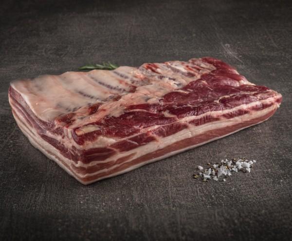 Niederrheinischer Duroc Schweinebauch Dry Aged